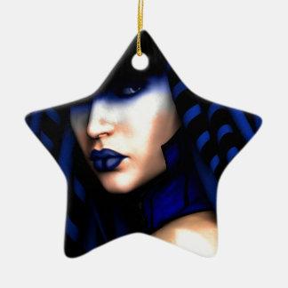 """""""Blauer"""" Kunst-Druck Keramik Stern-Ornament"""