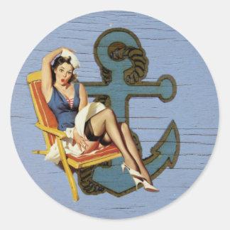 blauer Küstenseeankerpool-Partyseemann Runder Aufkleber