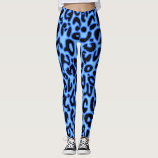Blauer Leopard Leggings