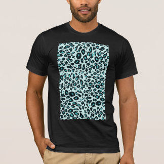 Blauer Leoparddruck T-Shirt