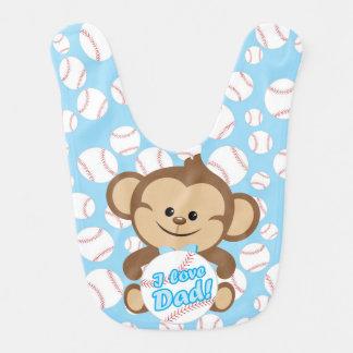 Blauer Liebe-Vati-Baseball-Schellfisch des Affe-I Babylätzchen