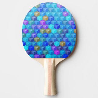Blauer lila Kubismus-Würfel geometrisch Tischtennis Schläger