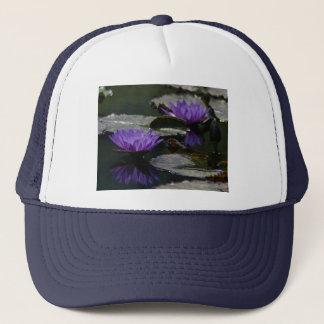 Blauer lila Lotos-Wasserlilie-Hut Truckerkappe