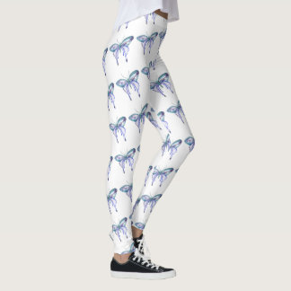 blauer lila Schmetterling des Watercoloraqua Leggings