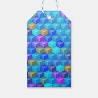Blauer lila Würfel-geometrisches Muster Geschenkanhänger