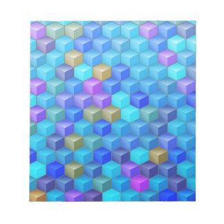 Blauer lila Würfel-geometrisches Muster Notizblock