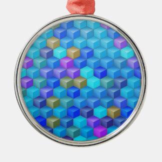 Blauer lila Würfel-geometrisches Muster Silbernes Ornament