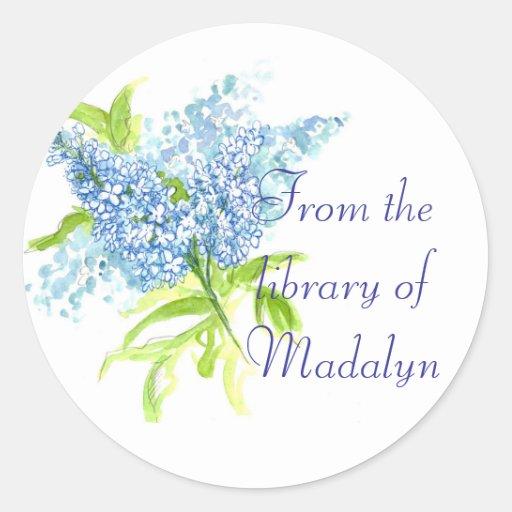 Blauer Liliac Frühlings-Blumenstrauß Runder Sticker