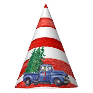Blauer LKW-Hut - roter Streifen - Editable Alter Partyhütchen