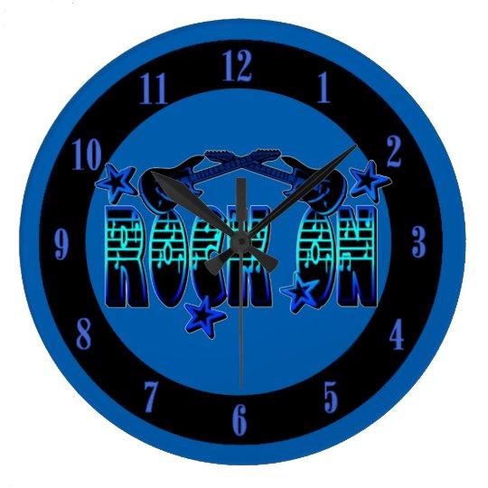 blauer logo rock auf gitarren u stern wanduhr gro e. Black Bedroom Furniture Sets. Home Design Ideas