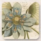 Blauer Lotos-Blume auf TAN-Hintergrund mit Untersetzer