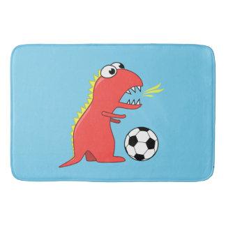 Blauer lustiger Cartoon-Dinosaurier-Fußball Badematte