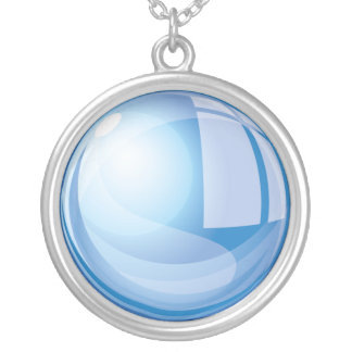 Blauer magischer Glasball Versilberte Kette