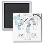Blauer Maurer-Glas-u. Blumen-Save the Date Magnet Kühlschrankmagnet