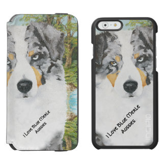 Blauer Merle australischer Schäfer-Hund Incipio Watson™ iPhone 6 Geldbörsen Hülle