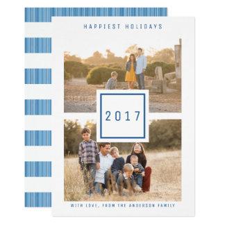 Blauer moderner doppelter Foto-Feiertags-flache 12,7 X 17,8 Cm Einladungskarte