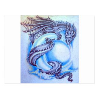 Blauer Mond-Drache Postkarte