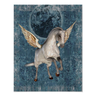 Blauer Mond-Fantasie-Pferdeplakat Fliegen-Pegasus Poster