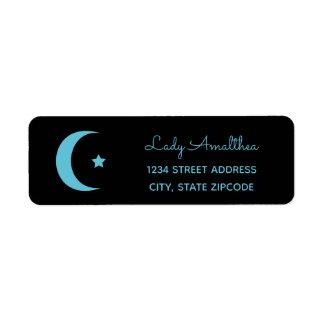 Blauer Mond-und Stern-Adressen-Etikett