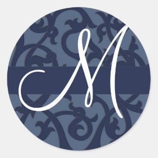 Blauer Monogramm-Aufkleber Runder Aufkleber