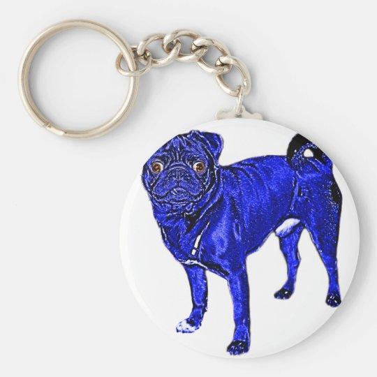 Blauer Mops Schlüsselanhänger