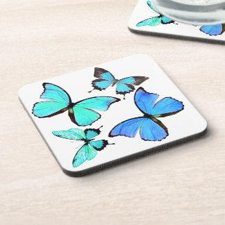 Blauer Morpho Schmetterlings-Tier-Tier-Untersetzer Untersetzer