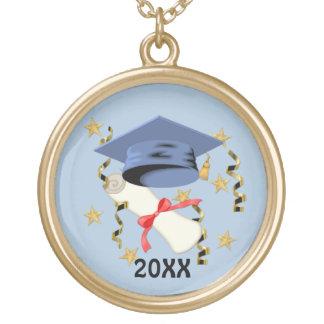 Blauer Mörser-und Diplom-Abschluss Vergoldete Kette