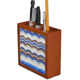 Blauer Mosaik-Schreibtisch-Organisator Stifthalter