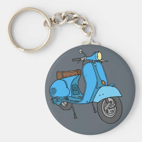 Blauer Motorroller (Vespa) Schlüsselanhänger