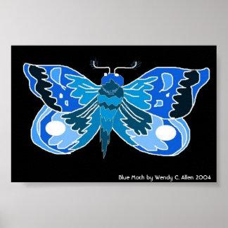 Blauer Mottendruck Poster