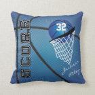 Blauer Name des Sport-Basketball-| DIY Kissen