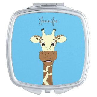 Blauer Namensspiegel des lustigen Giraffen-Cartoon Taschenspiegel