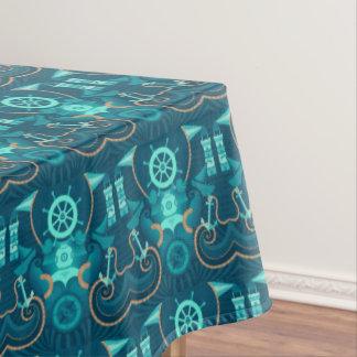 Blauer nautischentwurf tischdecke