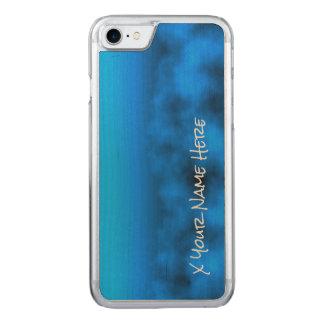 Blauer Neonnächtlicher Himmel mit schwarzem Carved iPhone 8/7 Hülle