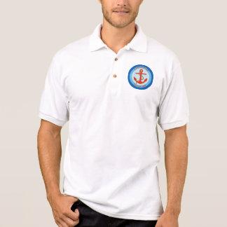 Blauer orange Anker-Seemann Polo Shirt