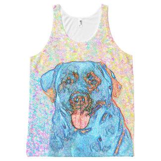 Blauer orange psychedelischer Retriever Labradors Komplett Bedrucktes Tanktop