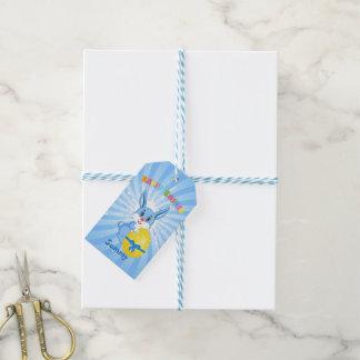 Blauer Osterhasen-Cartoon Geschenkanhänger