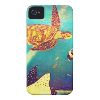 Blauer Ozean-bunte Meeresschildkröte-Malerei iPhone 4 Case-Mate Hüllen