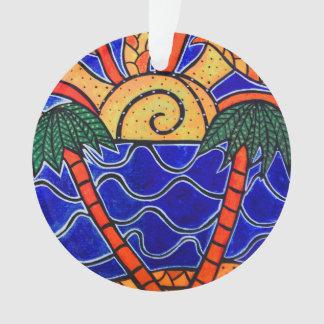 Blauer Ozean-Sonnenuntergang-Palme-Strand bewegt Ornament