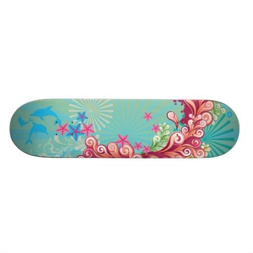 Blauer Ozean-Wirbelsentwurfs-Mädchen Skateboard Skateboardbretter