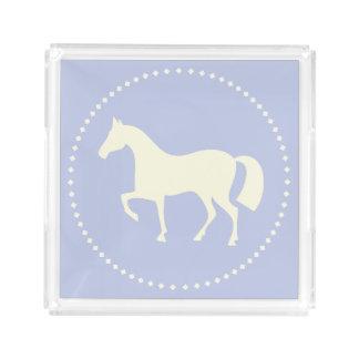 Blauer Pferde-/Pony-Silhouettequadratbehälter Acryl Tablett