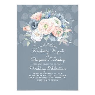 Blauer Pfirsich und rosa elegante mit Karte