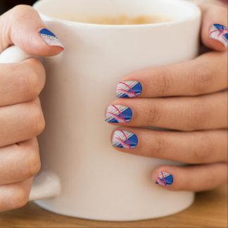 Blauer pinkfarbener Diamant-Entwurf Minx Nagelkunst