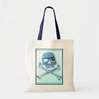 Blauer Piraten-Totenkopf mit gekreuzter Knochen. Tragetasche