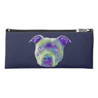 Blauer pitbull Hundebleistiftkasten Stiftetasche