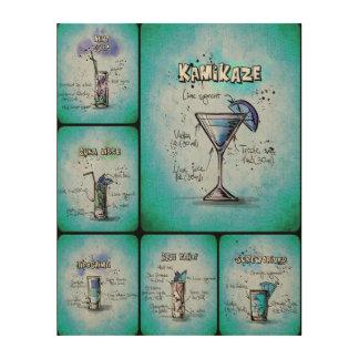 Blauer Plakat-Druck der Cocktail-II Holzleinwand
