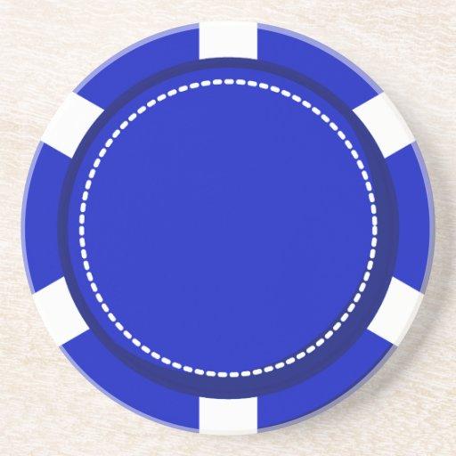 Blauer Poker-Chip-Sandstein-Untersetzer