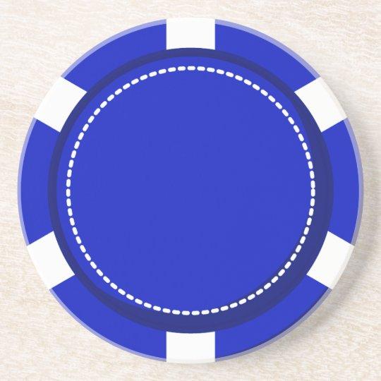 Blauer Poker-Chip-Sandstein-Untersetzer Untersetzer