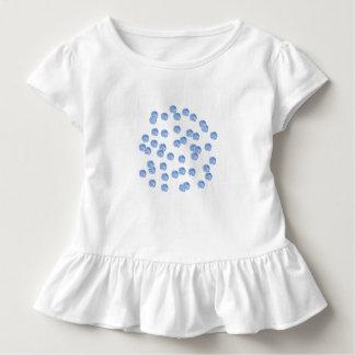 Blauer Polka-Punkt-Kleinkind-Rüsche-T - Shirt