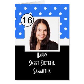 Blauer Punkt 16. Geburtstag Mitteilungskarte
